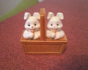 Cuter than ever Bunnies in a Basket Salt and Pepper shakers.