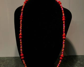 Long Red Wooden Beaded Necklace