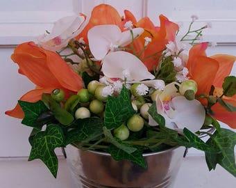 Silk Flower Arrangement - Orchids, Berries and Ivy