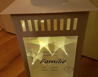 Lantern with family with data