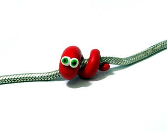 Charms Jewelry Snake//fimo polymer clay//bracelet necklace jewelry pendant beads//gift for women