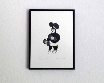 Mickey Muscle - Linocut print, framed - art print - Mickey Mouse - dumbbell - for gym lover or gym hater - Malczewski