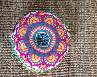 Bohemian, embroided, colorful, pillow from India