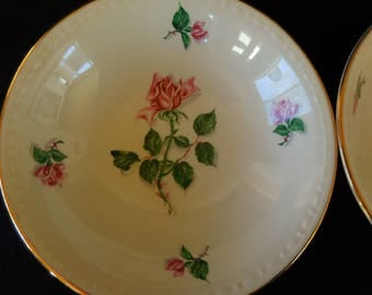 Vintage Berry/Fruit Bowls Set of Four/Homer Laughlin/ Rose Pattern/Georgian Eggshell China