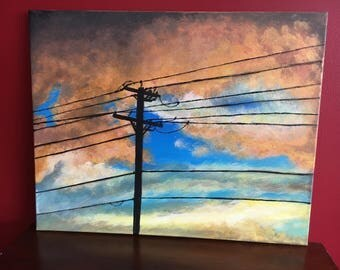 Black Wires against a Tangerine Sky