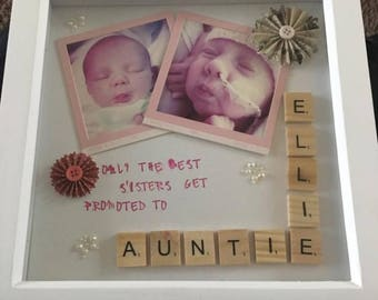 Personalised box frame with scrabble letters