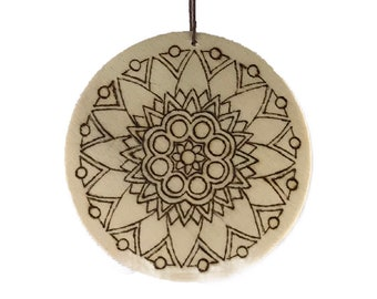 Color Your Own Mandala Hand Burned Wooden Ornament