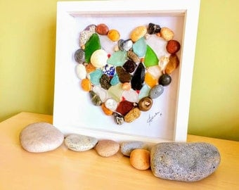 Pebble art, heart, sea glass art, pebble picture, heart picture, beach art, fossils, shells, gift