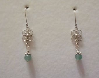 Aventurine Glass Bead Drop Earrings