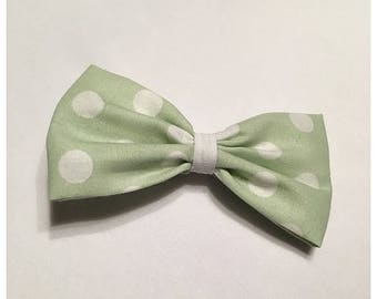 Pastel Green Polka Dot Hairbow, Hairbow, Spring Time Hairbow, Easter Hairbow, Polka Dot Hairbow, Bows, Bowtie, SozBows
