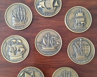 8 bronze beautiful Medals of Portuguese Ancient Ships