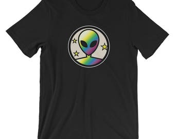 Holographic Glow Effect Alien T-shirt Extraterrestrial Tee