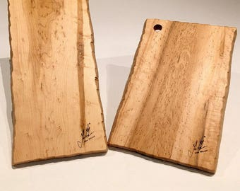 Live Edge Bird's Eye Maple Natural Cutting Boards