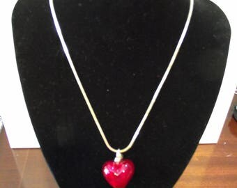 Silver Necklace with large  'Design Oslo' Red glass heart-shaped pendant