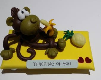 """Handmade polymer clay figures """"Thinking of You"""" gift"""