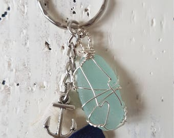 Genuine Sea glass keyring