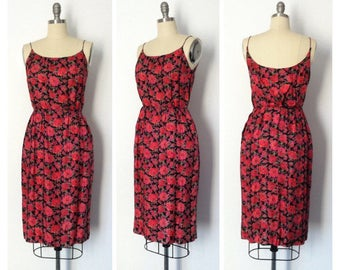 Vintage 1950s Silk Wiggle Rose Print Dress