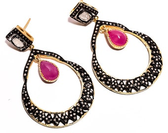 Victorian Diamond Silver Ruby G.F Earring