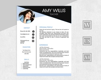 Resume Template with Photo, Professional Resume, 2 Page for Word, Cover Letter, References, Professional CV, Instant Download, Design Resume