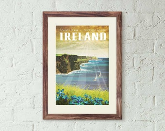 Ireland, Cliffs of Moher - Vintage Style Travel Poster