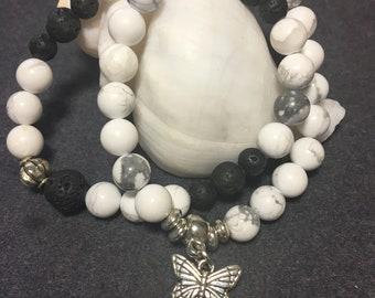 White Howlite/ lava stone diffuser bracelet set