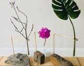 Steinvase - Vase - Unikat - Naturstein, Messing, Glas -- weitere Steinformen im Shop!