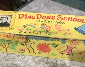 Rare Miss Frances Ding Dong School 1953 Coloring Paper in Box