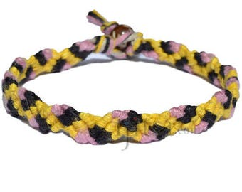 Yellow, Rose pink and Black hemp snake bracelet