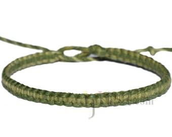 Avocado and olive rainbow flat hemp bracelet or anklet