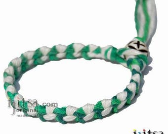 White and Rainbow Green Hemp Chain Bracelet or Anklet
