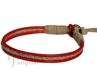 Red leather & hemp racelet or anklet