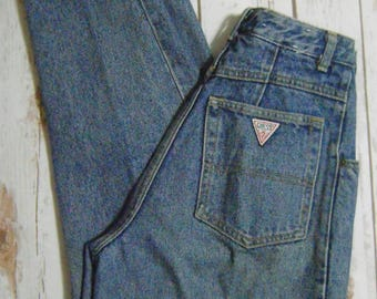 Vintage 80's Guess Georges Marciano Women's Size 27 Stonewash High-Waisted Pleated Mom Jeans