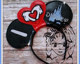 I HeART PRiNCESS CaSTLE Inspired (3 Piece) Mr Miss Mouse Ears Headband ~ In the Hoop ~ Downloadable DiGiTaL Machine Emb Design by Carrie