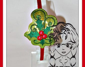 HOLLY Christmas HB Slider Hair Pretty Accessory ~ In The Hoop Headband ~ Downloadable DiGiTaL Machine Embroidery Design by Carrie