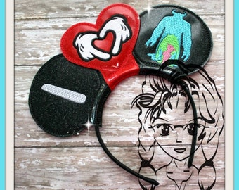 I HEART Hands MONSTERs (3 Piece) Mr Miss Mouse Ears Headband ~ In the Hoop ~ Downloadable DiGiTaL Machine Emb Design by Carrie