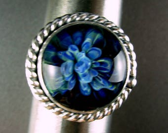 BOROSILLICATE art glass deep blue floral ribbon high dome pattern wire band silversmith Chelle' Rawlsky approx 8.5+ gift box layaways availa