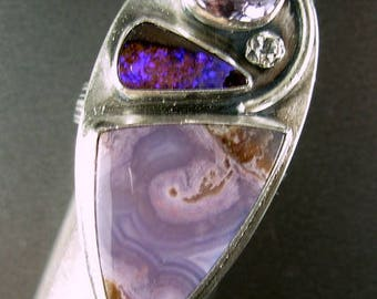 Agua nueva agate, opal, lilac amethyst upcycled recycled sterling silver 925 ring LARGE 9+ Chelle' Rawlsky ARTIST CHOICE gift box free shipg
