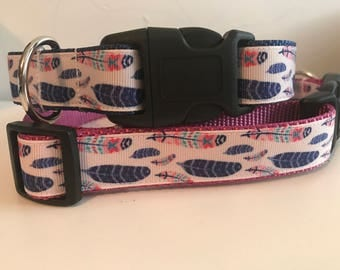 Blue and Pink Feather Large Dog Collar on Pink or Blue Nylon