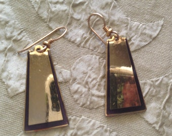 Laurel Burch Egyptian Revival Dangle Cloisonne Earrings French Ear Wires Vintage Jewelry 1980s Black Gold