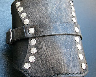 Gray Leather Travel Card Wallet Wristband Cuff - MADE To Order