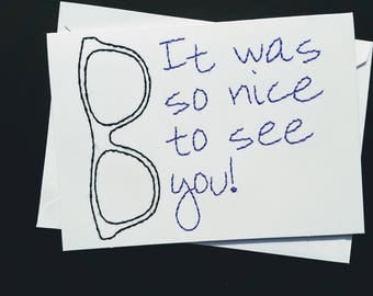 Nice to see you hand-embroidereed card