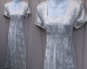 90s Vintage White Damask Satin Bias Cut Maxi Dress / Square Neck Empire Waist / 1990s does 1930s Maxi Party Prom Bridal Dress // Sz Sml