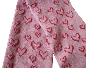 Handmade Scarf in Lilac with Raspberry Red Hearts - Felted Lambswool - *Seconds*