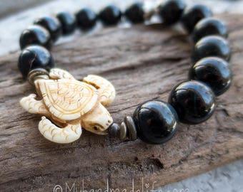 Sea Turtle Bracelet | Spirit Animal | Sea Turtle | Elastic | Black Tigereye Stones | Turtle Lover | Earthy | Organic | Bracelet Under 20
