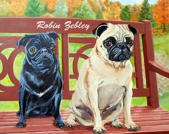 Custom Pet Portrait, Custom Dog and Cat Portrait Artist, Custom Portrait Art, Pugs