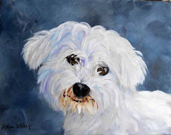 "Pet Portrait, Square 8"" x 8"" Canvas, Oil Painting, Gallery Wrapped, Custom from photos, still time for Christmas Animal Art"