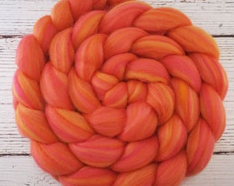 Custom Blended 100% Merino Parfait Wool Roving Top - 4 oz. CORAL - Spinning Felting Fiber
