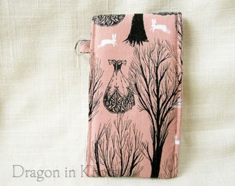Lip Gloss Holder - Tall or Short Haunted Forest Lip Balm Pouch, pink and black Victorian ghost story insulated case, keychain card wallet