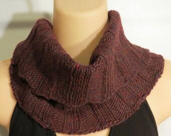 Hand Knit Scarf Wool Bamboo Turtleneck Cowl burgundy