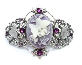 Cameo Hair Barrette Purple and White Butterfly  with Beach Glass and Crystal Accents
